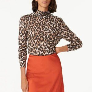 J. CREW Silk Blend Shoulder Button Leopard Sweater